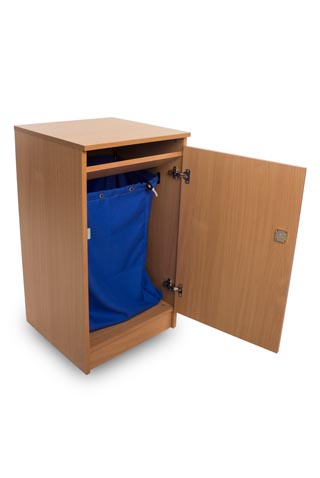 Beech (opened) Cabinet for Secure Document Shredding